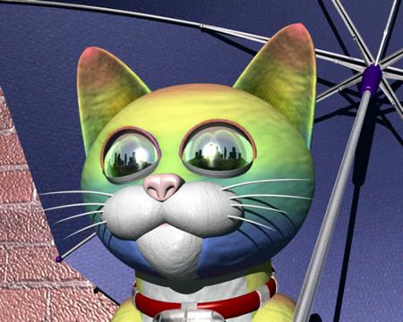 虹色の猫(アップ)(3Dキャラクター)