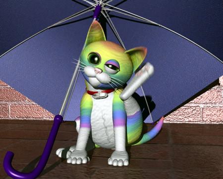 虹色の猫の耳かき(3Dキャラクター)