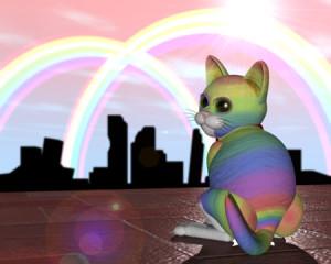 虹色の猫と虹(3Dキャラクター)