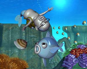 おやじマーメイドと魚貝(3Dキャラクター)