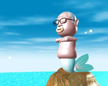 おやじマーメイドと海(3Dキャラクター)
