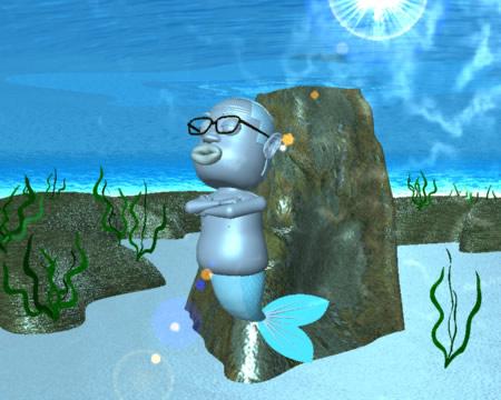 おやじマーメイドと海底(3Dキャラクター)