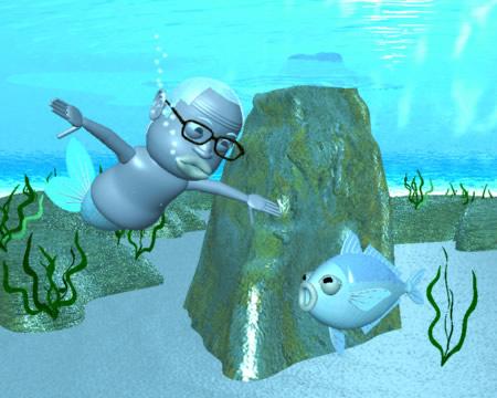 おやじマーメイドと海と魚(3Dキャラクター)