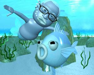 おやじマーメイドと魚(3Dキャラクター)