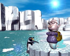 おやじマーメイドと南極(3Dキャラクター)