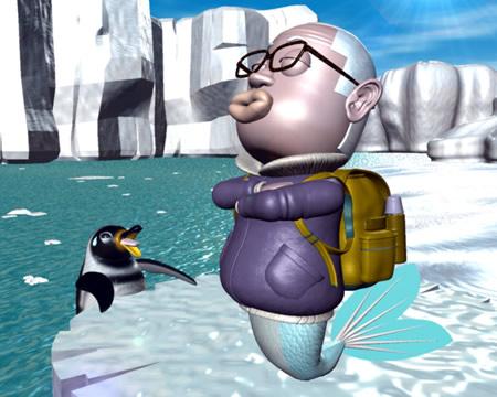 おやじマーメイドとペンギン(3Dキャラクター)