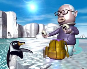 おやじマーメイドとペンギンとおにぎり(3Dキャラクター)
