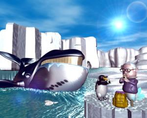 おやじマーメイドとペンギンと鯨(3Dキャラクター)