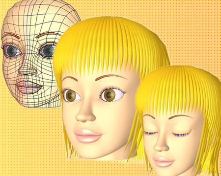 ポリゴンガール(目と目蓋)(3Dキャラ)