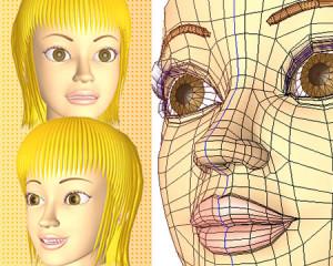 ポリゴンガール(表情)(3Dキャラ)