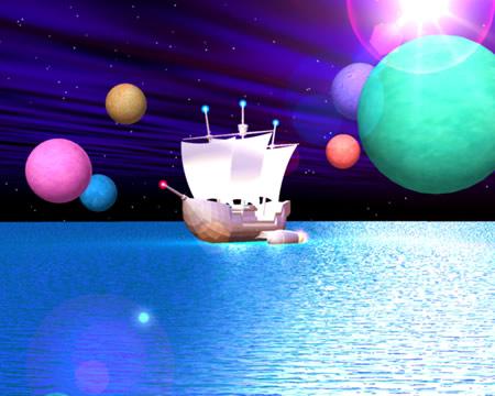 帆船と星の海(3Dの乗り物)