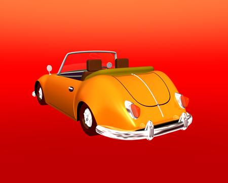 乗用車(オープンカー)背面(3Dの乗り物)