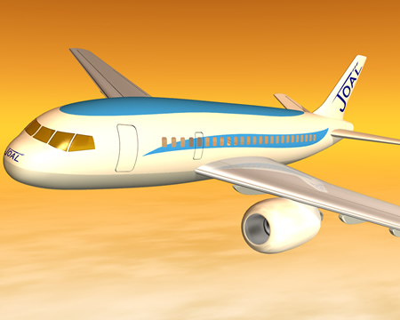 旅客機(夕日)(3Dの乗り物)