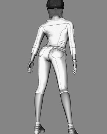 ポリゴンガール(デニム)背面(白黒)(3Dキャラ)