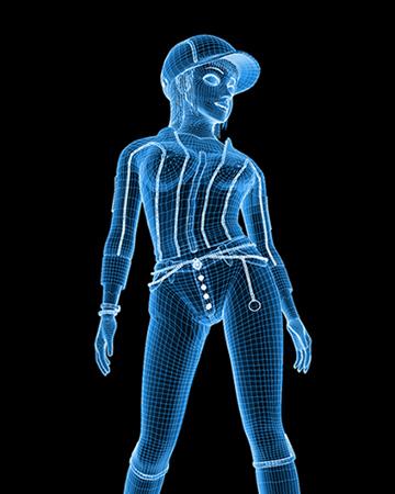 ポリゴンガール(デニム)ワイヤーフレーム(3Dキャラ)
