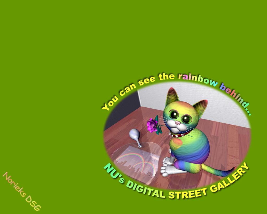 3DCG壁紙 虹色のネコ