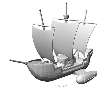 帆船(シェーディング)(3Dの乗り物)
