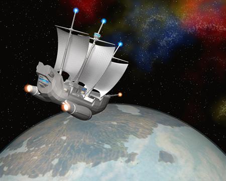宇宙の帆船と惑星(3Dの乗り物)
