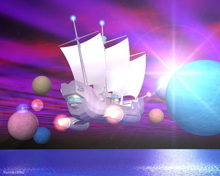 帆船と星の海(背面)(3Dの乗り物)