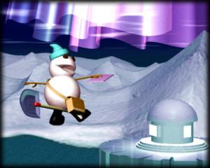 スノーポストマンと南極の家(3Dキャラクター)