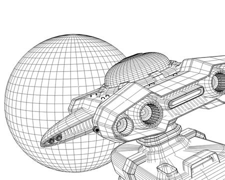 宇宙船(輸送船)ワイヤーフレーム(3DCG乗り物)