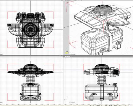 宇宙船(輸送船)ワイヤーフレーム4面(3Dの乗り物)