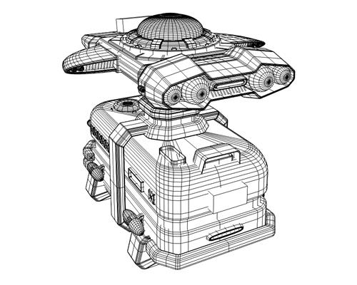 宇宙船(輸送船)背面ワイヤーフレーム(3Dの乗り物)