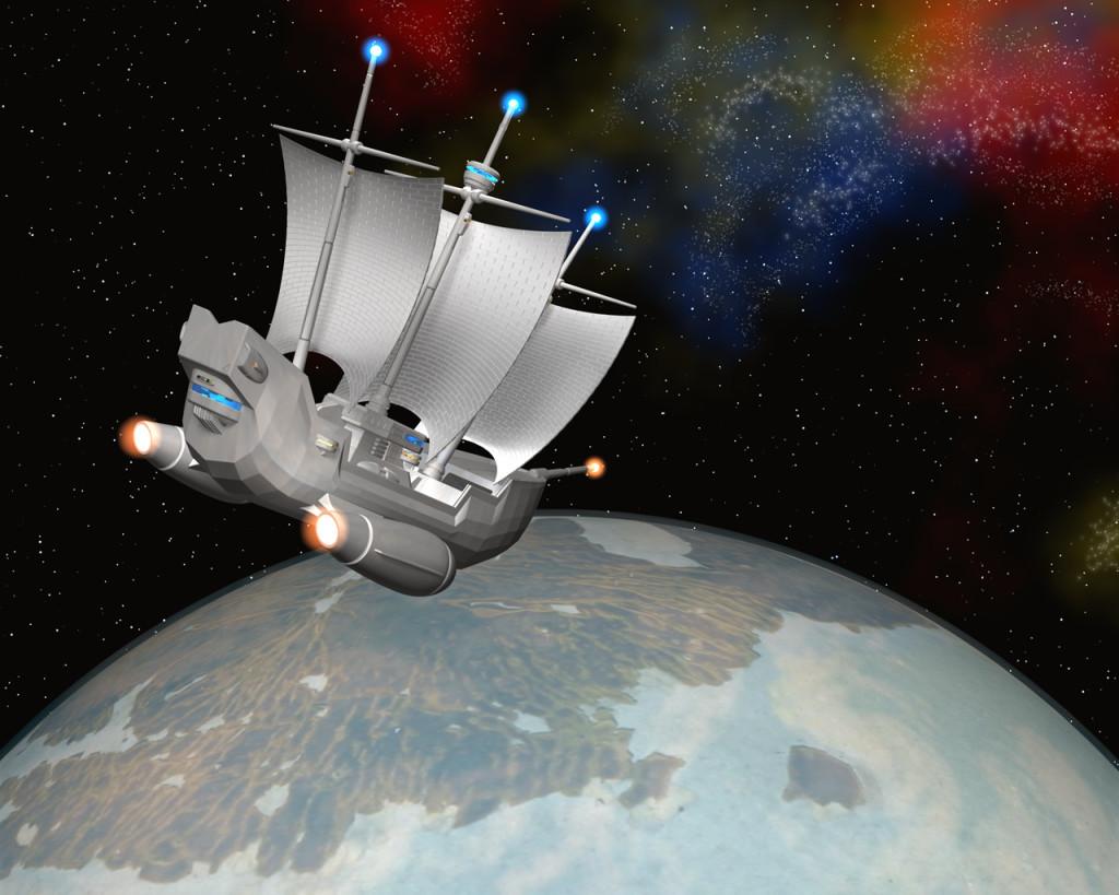3DCG壁紙 宇宙帆船(StarMaria)と惑星