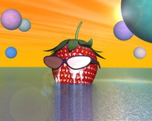 感動ストロベリー野郎と星の海(別背景)(3Dキャラクター)