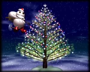 スノーポストマンとクリスマスツリー(3Dキャラクター)