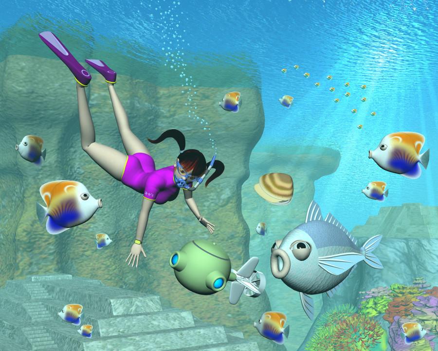 3DCG壁紙 3Dキャラと水中用ドローンと海