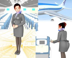 機内のスチュワーデス(3Dキャラクター)