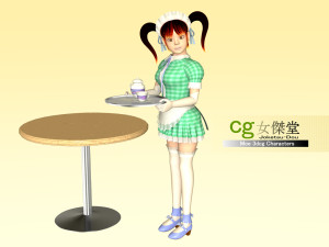 ツインテールのメイド(3Dキャラクター)