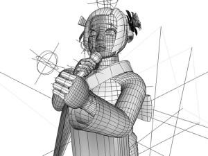 演歌歌手ワイヤーフレーム(3Dキャラクター)