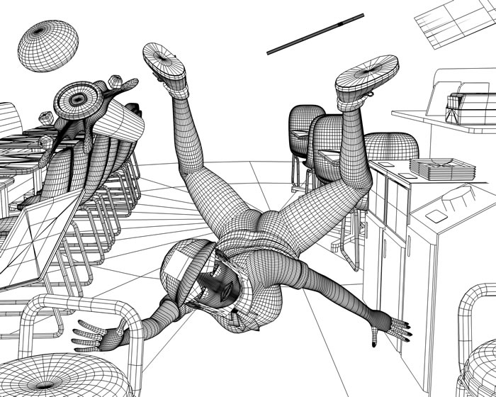 転ぶバーガーショップ店員(WF)(3Dキャラクター)