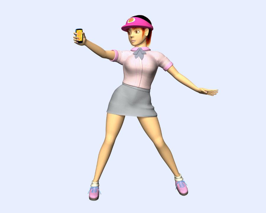 ハンバーガーショップ店員変身(3Dキャラクター)