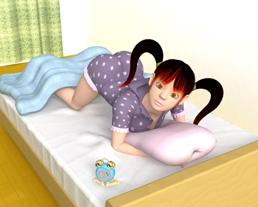 OLの寝覚めパジャマ(3Dキャラ)