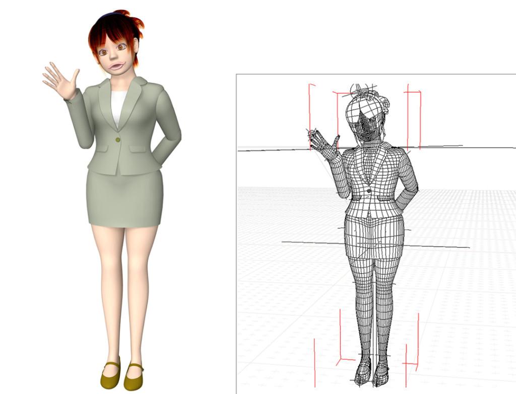 アヒル口のOL(3Dキャラクター)