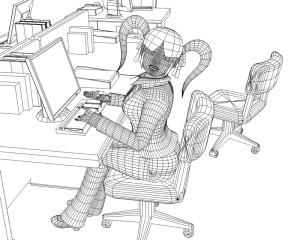 OLとオフィス(ワイヤーフレーム)(3Dキャラクター)