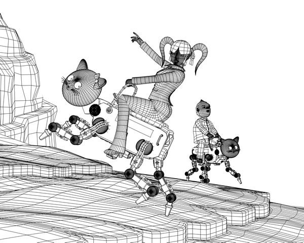 OLと猫ロボット(ワイヤーフレーム)(3Dキャラクター)