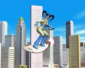 OLが空飛ぶサーフィン(3Dキャラクター)