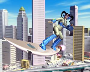 OL空中サーフィンと高層ビル群(3Dキャラクター)