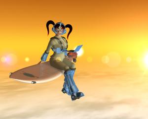 空飛ぶサーフィンOLと夕日(3Dキャラクター)