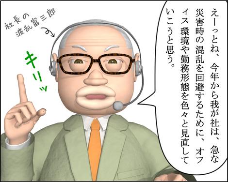4コマ漫画(3Dキャラ)ベベルなオフィス第15話①