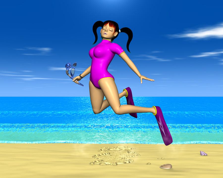 跳ねるウエットスーツOLと海(3Dキャラクター)