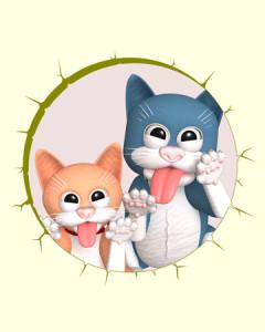 スケベ猫覗き(3Dキャラクター)