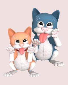 スケベ猫ポーズ(3Dキャラクター)