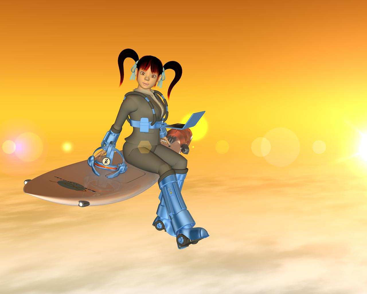 夕日のOL(ウェアラブルとサーフィン)(3Dキャラクター)