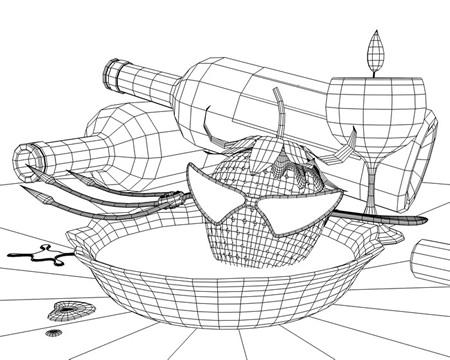 暗黒ストロベリー野郎とワイン風呂WF(3Dキャラ)