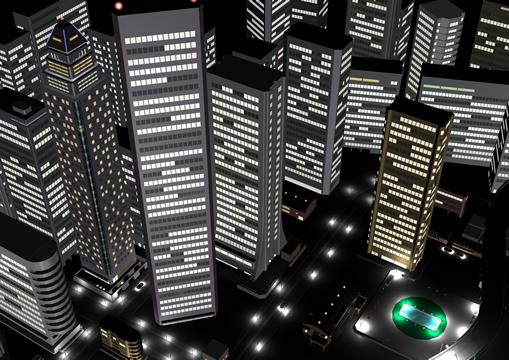 高層ビル群夜景(3Dの建物・街)